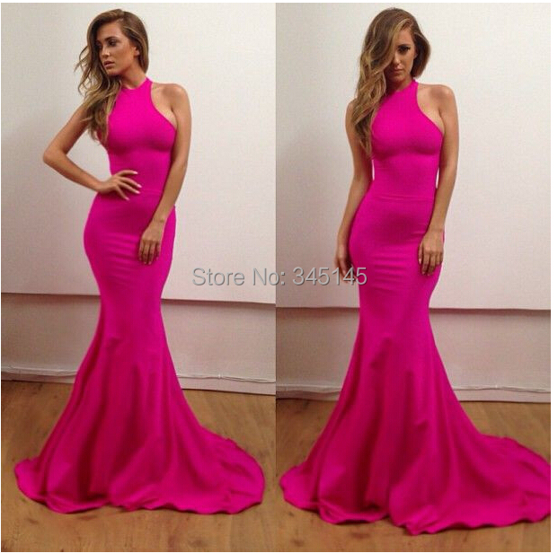 e36cd3891ecd elegant off-shoulder sexy hot pink long fitted mermaid prom dress fast  shipping