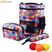 KOKNIT 3pcs/set Knitting Bag Yarn Tote Organizer Woolen Holder DIY Needlework Storage Women Mom Home Sewing Kit