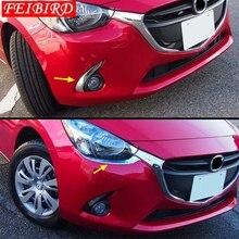 Accesorio de coche para Mazda 2, Demio 2015, 2016, 2017, 2018, anillo antiniebla delantero, cabeza delantera, cubierta tipo ceja embellecedora