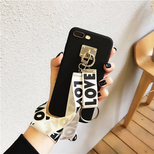 Fashion Love Words Phone Case with Wrist Neck Strap for iPhone x xs 7 8 plus 6s TPU Plain Full Cover