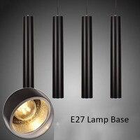 Modern E27 Cylinder Pipe LED Pendant Light Kitchen Dining Room Bar Counter Shop E27 Holder Hanging Lamp Long Tube Pendant Lamp
