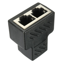 High Qaulity 1pc Plastic Copper Core 1 To 2 LAN RJ45 Connector Network Cable Splitter Extender Plug Adapter Connector Black