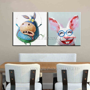 Handmade Naughty Animals Oil Painting For Living Room Funny Glasses Rabbit Wall Pictures Home Decor Hand Painted Donkey Art