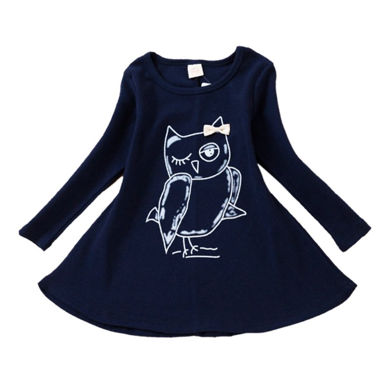 girl owl printed dress full sleeve fashion cotton baby girl casual dress girls cartoon batwing sleeve pocket side curved hem textured dress