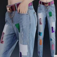 2016 новый женщины bronzing кросс Высокой Талией джинсы упругие Отверстие гарем брюки Плюс Размер карандаш капри