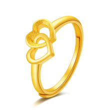 1 PCS Adjustable Two Hearts Rings Fashion Women Golden Color Stainless Steel Wedding Get Married Ring Madam Gift(China)