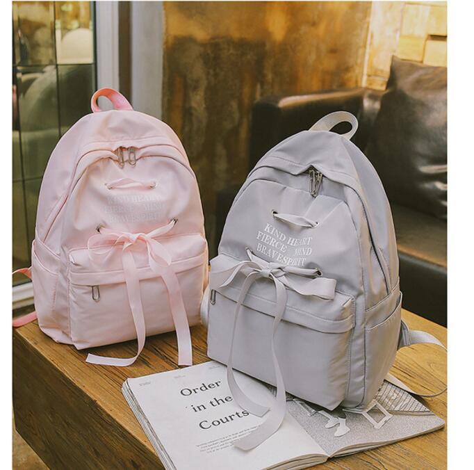 Casual Ribbon Design School Backpack Women Solid Color Canvas School Bag For Teenage Girls Travel Rucksack Lady Q014