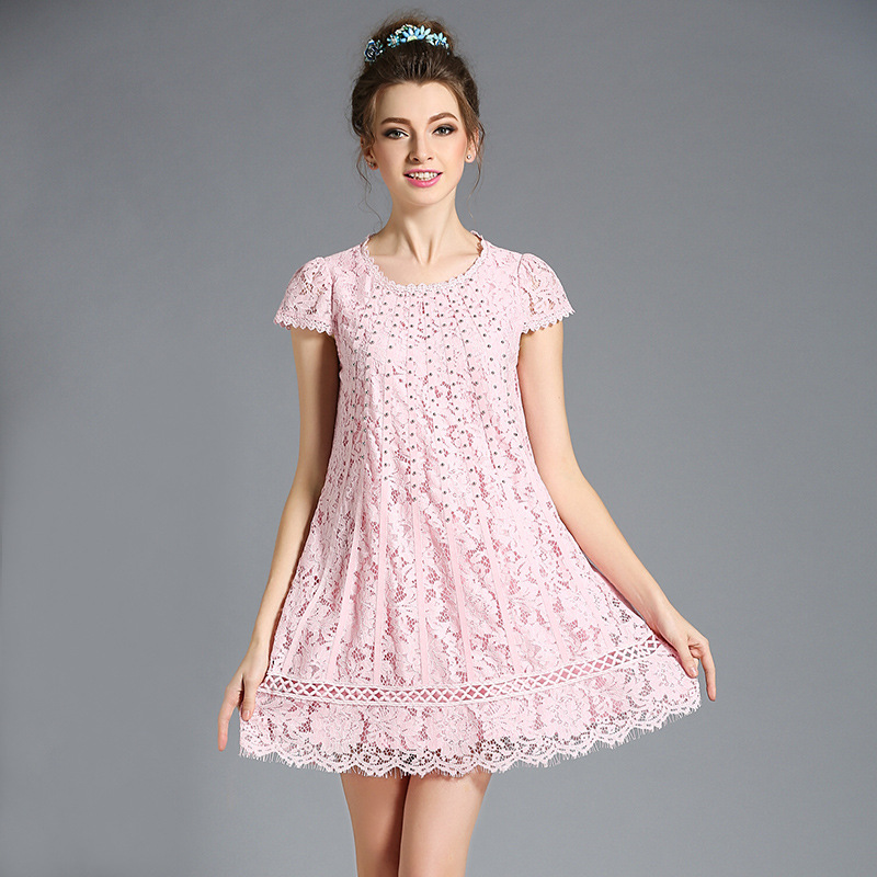 65a004d5077 L- 5XL Slim A-line Pink Sweet Dress Sweet Flower Lace Crochet Plus Size  With Silver Beadings 2017 Summer Women Dresses