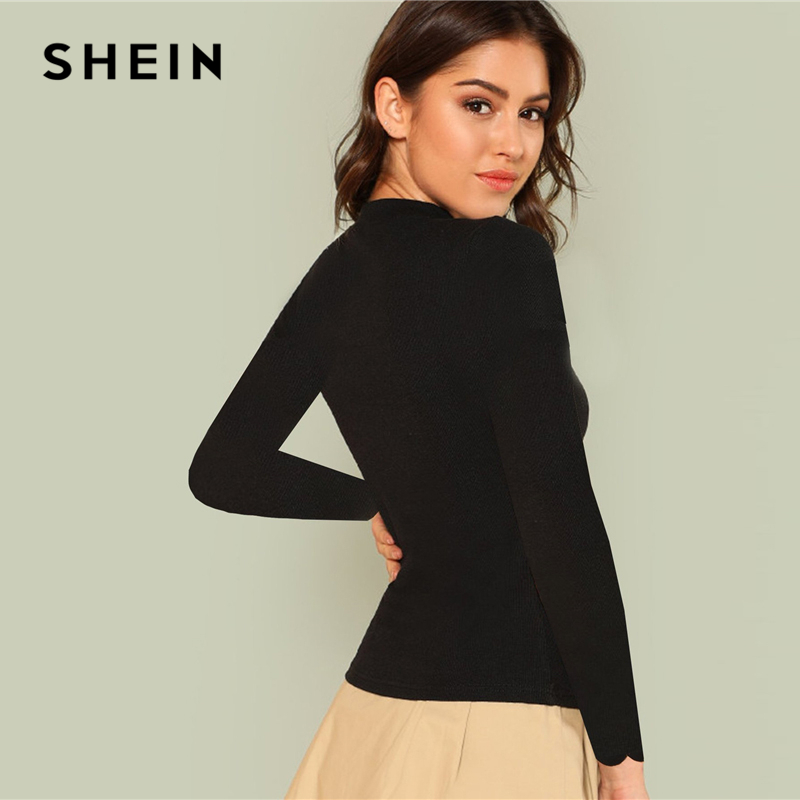 aaa7cefd7a SHEIN Black Workwear Elegant Scallop Trim Solid V Neck Long Sleeve Skinny  Tee 2018 New Autumn Minimalist Women T shirt And Top-in T-Shirts from  Women's ...