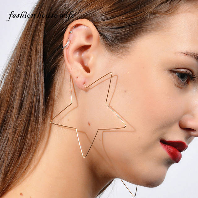 Fashion Gold Silver Color 85mm Star Hoop Earring For Women Exaggerated Large Heart Earrings Statement Party