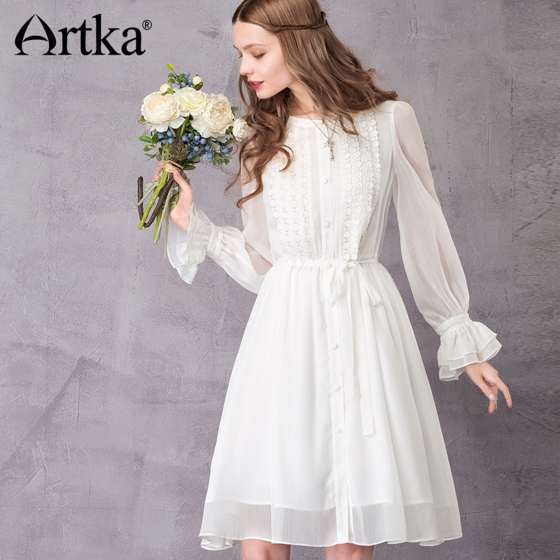 ARTKA Women s 2018 Autumn Vintage White Chiffon Dress Fashion O Neck Puff Sleeve Empire Waist