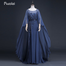 Real Photo Fashion A-Line Scoop Long Sleeves Chiffon Beaded Evening Dresses Formal Prom Dress Vestido de Festa ASAFN19