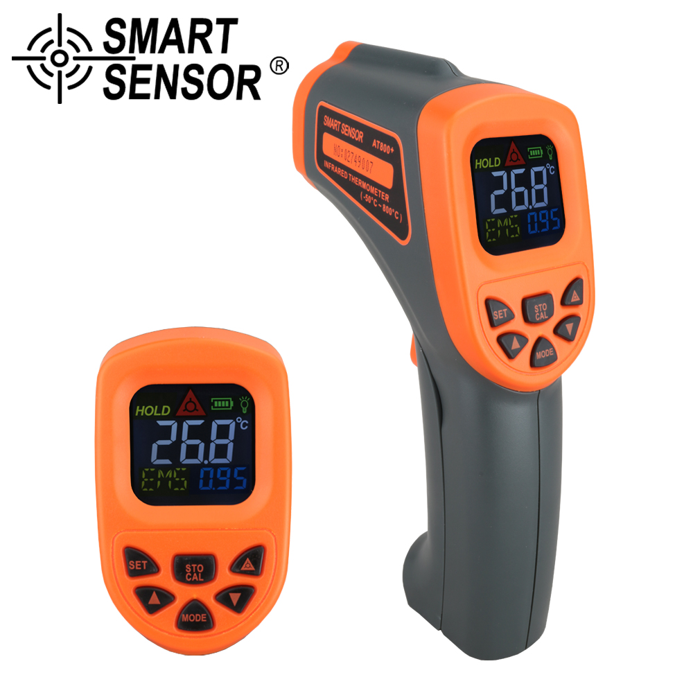 Handheld AT800+Digital Infrared Thermometer -50~800 C red laser Non-Contact IR Adjustable Emissivity Gun Point color LCD display elecall 50 800c adjustable emissivity autooff lcd noncontact digital laser infrared thermometer ir high temperature gun tester page 9