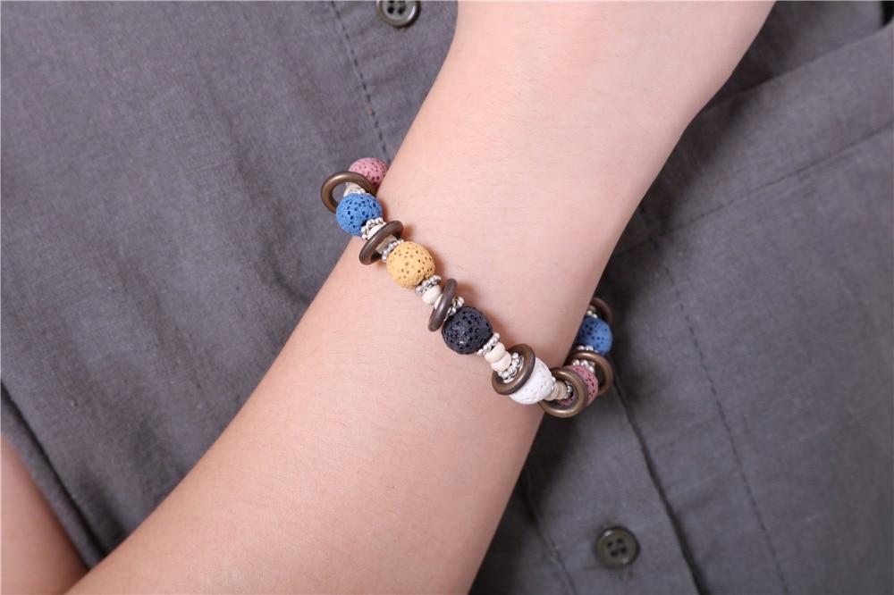 17 Lava Stone Beads Bracelet Beautiful Bangles Bracelets For Women Nature Stone Bracelet Strand Women Bracelets Jewelry Women 11