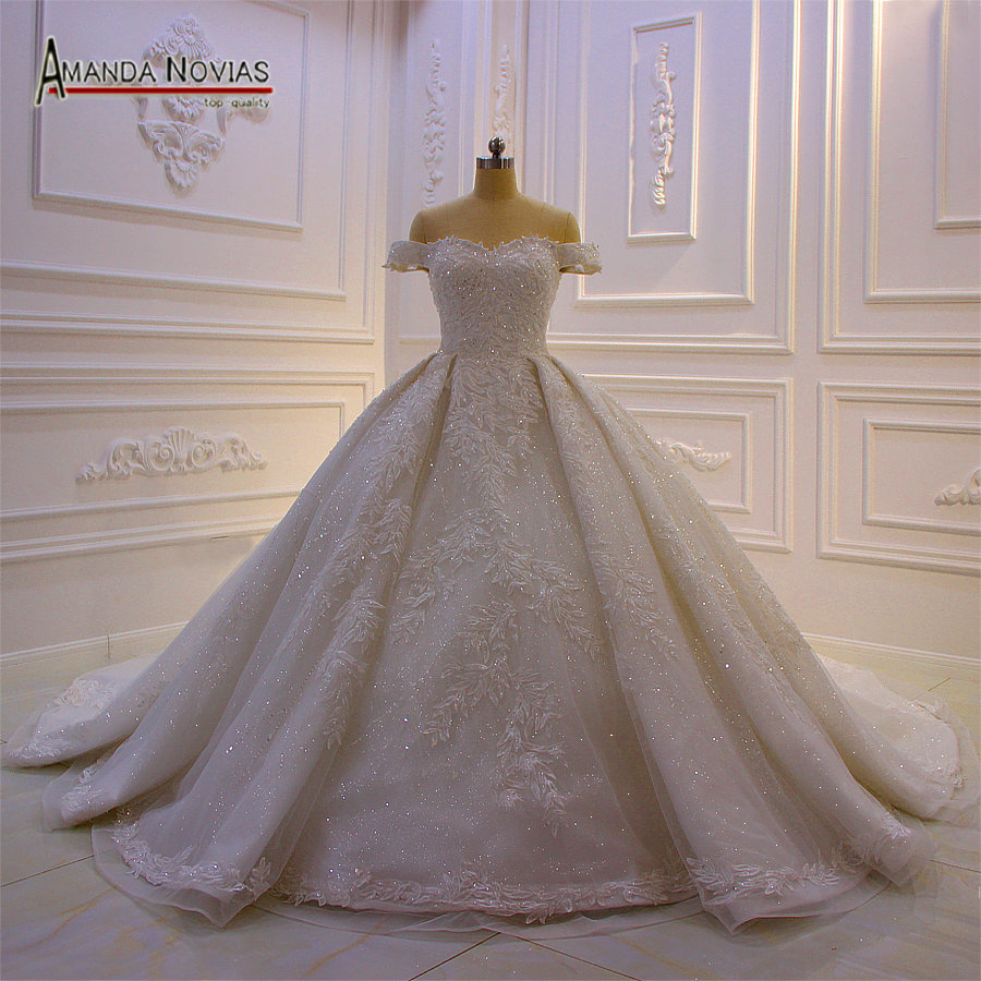2019 Dubai wedding dress luxury shinny bling wedding gown off the shoulder  straps real work photo brand 8472d81c1ee3