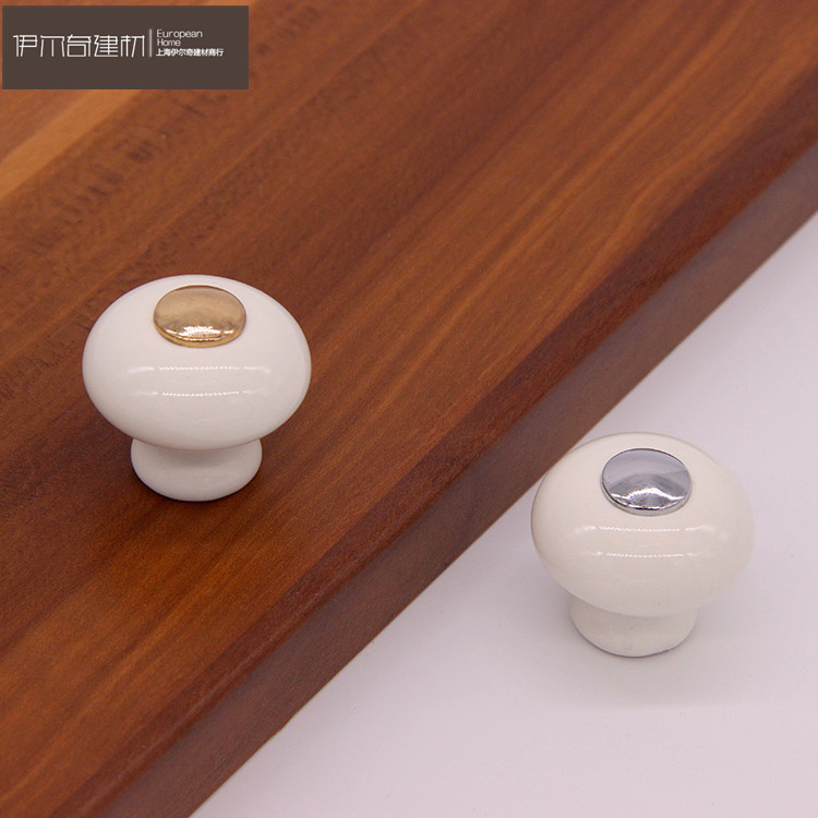 Modern Style lvory White Ceramic Handle Antique Wardrobe Cabinet Drawer Door Handles and Handles Kitchen Gold Silver Pulls