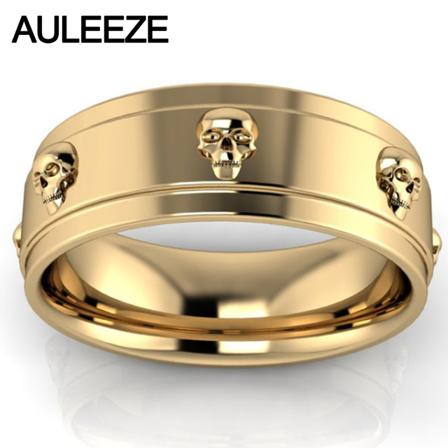Skull Ring Pure Gold Solid 10k Yellow Engagement Fashion Art Deco Wedding Band