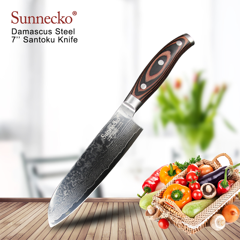 SUNNECKO 7 inch Santoku Kitchen Chef Knife 73 Layer Damascus VG10 Steel Sharp 60HRC Blade Pakka