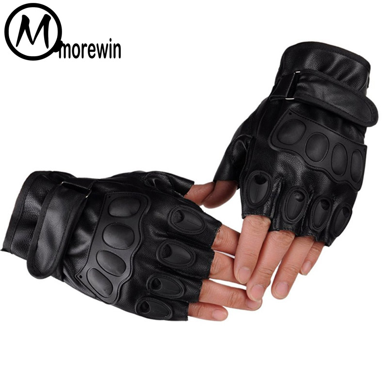 Morewin Half Finger Mens Leather Latex Tactical Gloves Fingerless Army Military Mittens Men Work Out Guante Black Driving