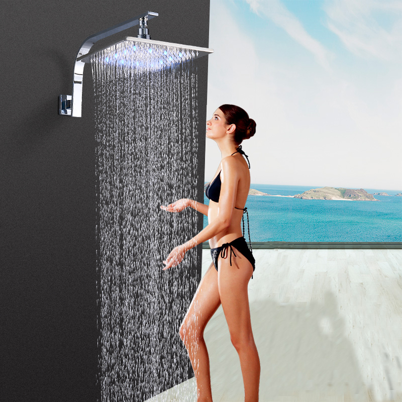 8 Inch 20cm * 20cm Water Powered Rain Chrome Rrushed Nicekl Square Led Shower Head WithShower Arm.Bathroom 3 Colors Led Shower