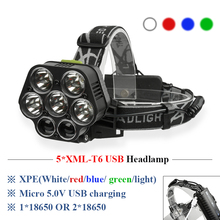 CREE 7*LED XML T6 XPE Q5 Headlight 20000LM 6 Mode Headlamp Rechargeable Head Flashlight Lamp Frontal Camp Hike Light 18650
