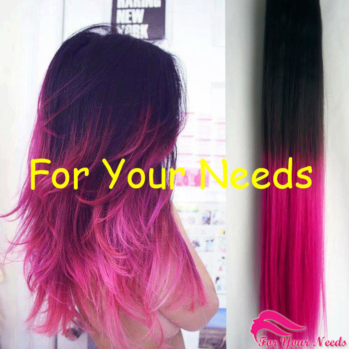 Hot Fashion Two Tone 2 With Fucsia Ombre Two Colors Hair Extensions