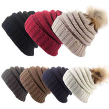 e655a3ae6444c Women Ladies Winter Beanie Hat Warm Knitted With Small Crystals Large Pom  Pom US(China
