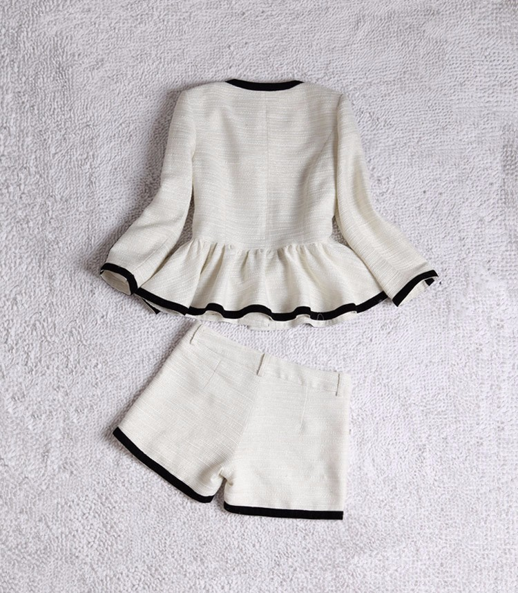High-end Black White Patchwork Ruffle Decoration Blazer and Short Pants Women Suits Autumn 2015 (5)