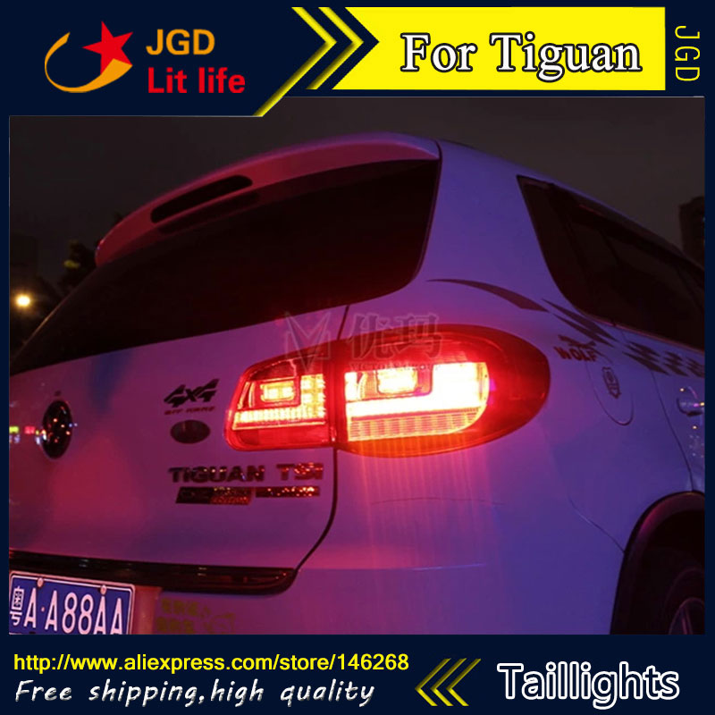 Car Styling tail lights for VW Tiguan 2009-2012 LED Tail Lamp rear trunk lamp cover drl+signal+brake+reverse car styling tail lights for toyota prado 2011 2012 2013 led tail lamp rear trunk lamp cover drl signal brake reverse