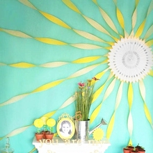 5pcs/set Sun DIY Decoration  Set With White cut-out Paper Fan Yellow Crepe for Birthday Showers Nursery Wall Decor