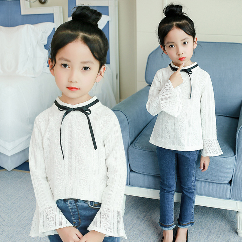 lace flare sleeve kids school blouses for girls bow o-neck cotton summer shirts blouses for baby big girls tops clothing 4 6 8 Y