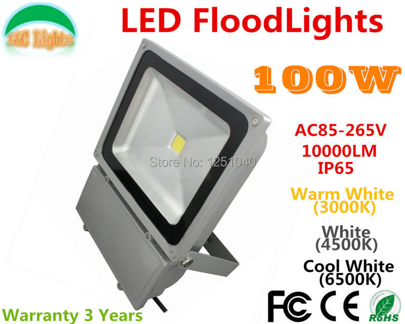 100W LED Floodlights Cast Light Spotlights Project-light lamp 85-265VAC IP65 Warranty 3 Years CE RoHS Garden Buildings Lighting p10 real estate project hd clear led message board 2 years warranty
