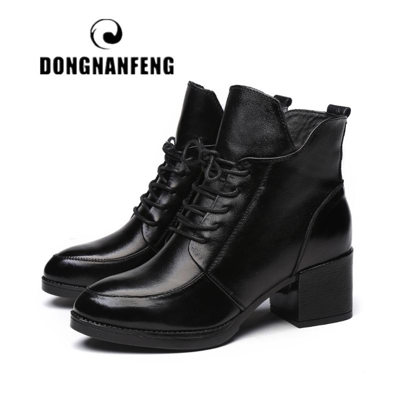 DONGNANFENG Women Shoes Boots Vintage Genuine Leather Snow Winter Plush Fur Warm Lace Up Ankle Mother