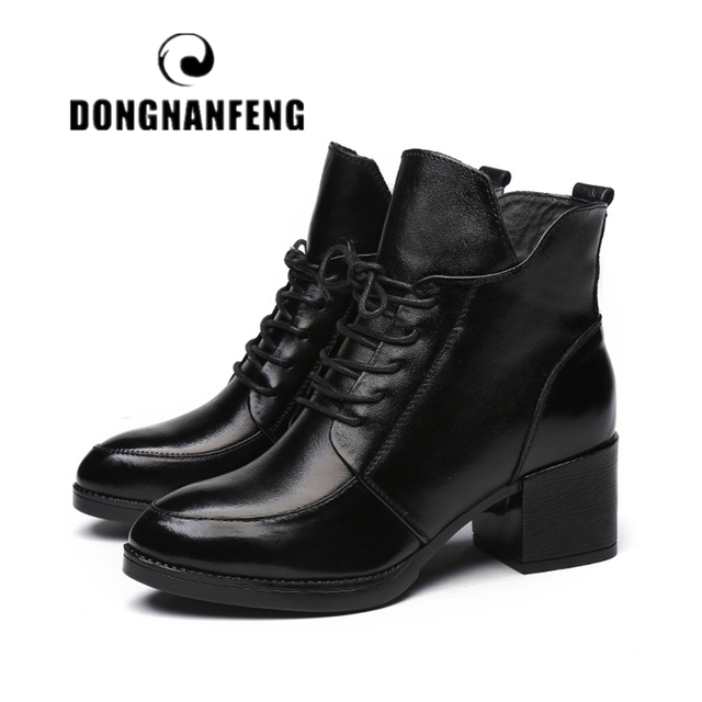DONGNANFENG Phụ Nữ Giày Boots Cổ Điển Da Chính Hãng Tuyết Mùa Đông Lông Thú Sang Trọng Ấm Ren Lên Mắt Cá Chân Mẹ Siêu Sao Kích Thước 35- 40 OL-1