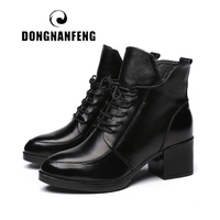DONGNANFENG Women Shoes Boots Vintage Genuine Leather Snow Winter Plush Fur Warm Lace Up Ankle Mother Superstar Size 35 40 OL 1