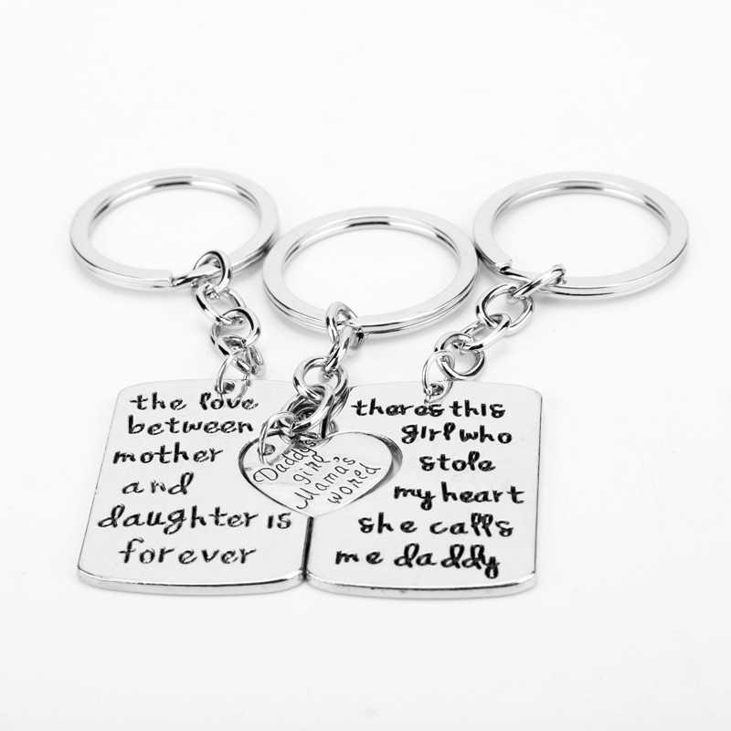 Dongsheng 3 cái Mẹ Daddy Cô Gái Stole Của Tôi Trái Tim Tình Yêu Giữa Mẹ Con Gái Key Chains Nhẫn Fob Keyring Keychain quà Tặng gia đình-50