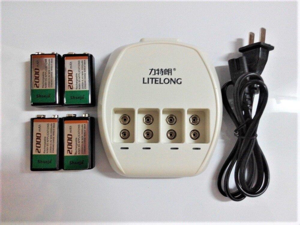 Nouvelle puissance 4 pièces 2000 mAh SUPER grand 9 v NiMH batteries Rechargeable 9 volts batterie + 1 pièces dédié 4 fentes 9 v chargeur