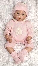 22 «розовый Reborn baby куклы девушки игрушки силикона винил новорожденный реалистичного baby doll с одеждой карими глазами мохер Дети Bonecas