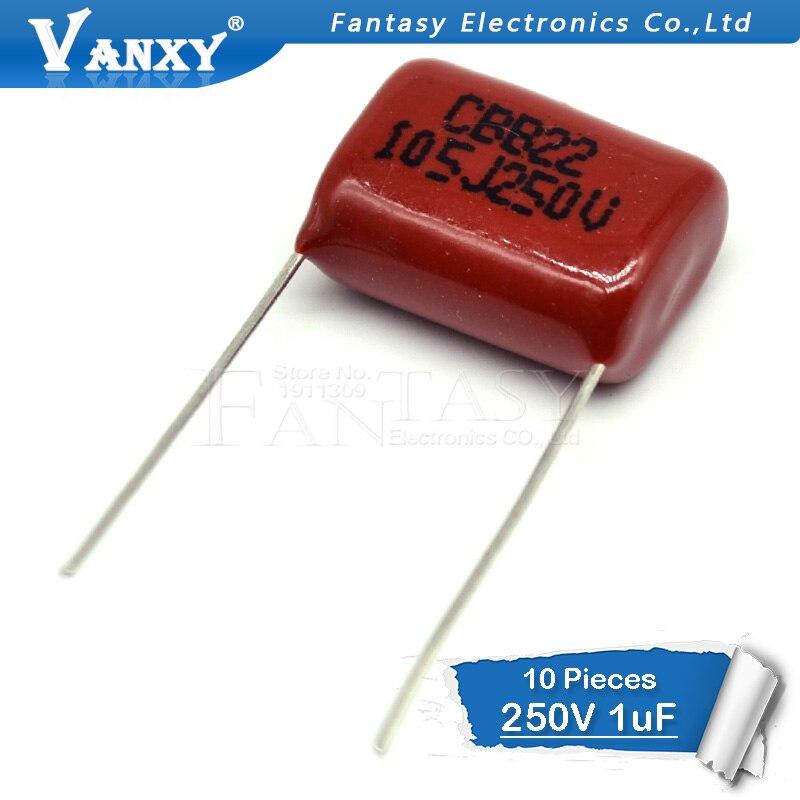 10PCS 250V105J Pitch 15MM 250V 105 1uf CBB 250V105 Polypropylene Film Capacitor