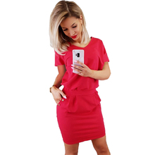 Women Dresses V-Neck Short Sleeve Solid Color Button Female Casual Hip Package Vestidos Clothing