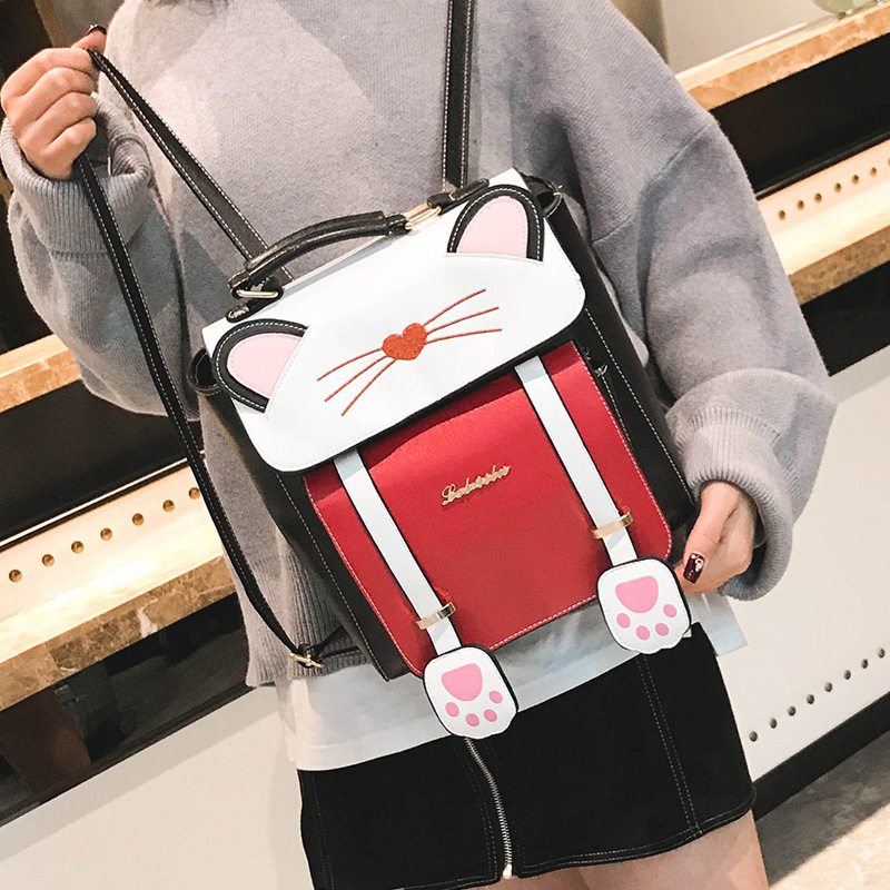 MIYAHOUSE Cat Design PU Leather Women Backpack Fashion Embroidery School Bag For Teenage Girls Cool Travel Rucksack For Female