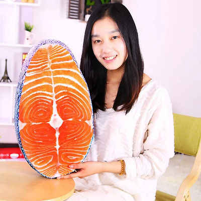 Washable Amusing Simulation Tasty Salmon Fish Sushi Pillow Cushion Home Decor