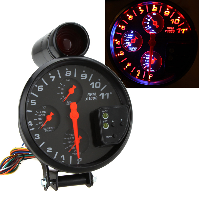 universal auto motorcycle multifunctional 5'' 4 in 1 tachometer rpm sunpro tach wiring  mallory tach wiring diagram