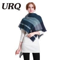URQ Za Scarf 2017 Woman Winter Plaid Scarf Brand Design Lady Acrylic Tartan Scarves Square