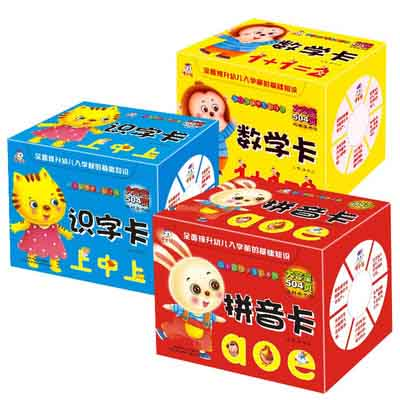 3 Box / Set Learn Chinese Characters Han Zi Alphabet Pinyin Shuzi Number Cards For Children Kids Baby Early Education Age 3 To 6
