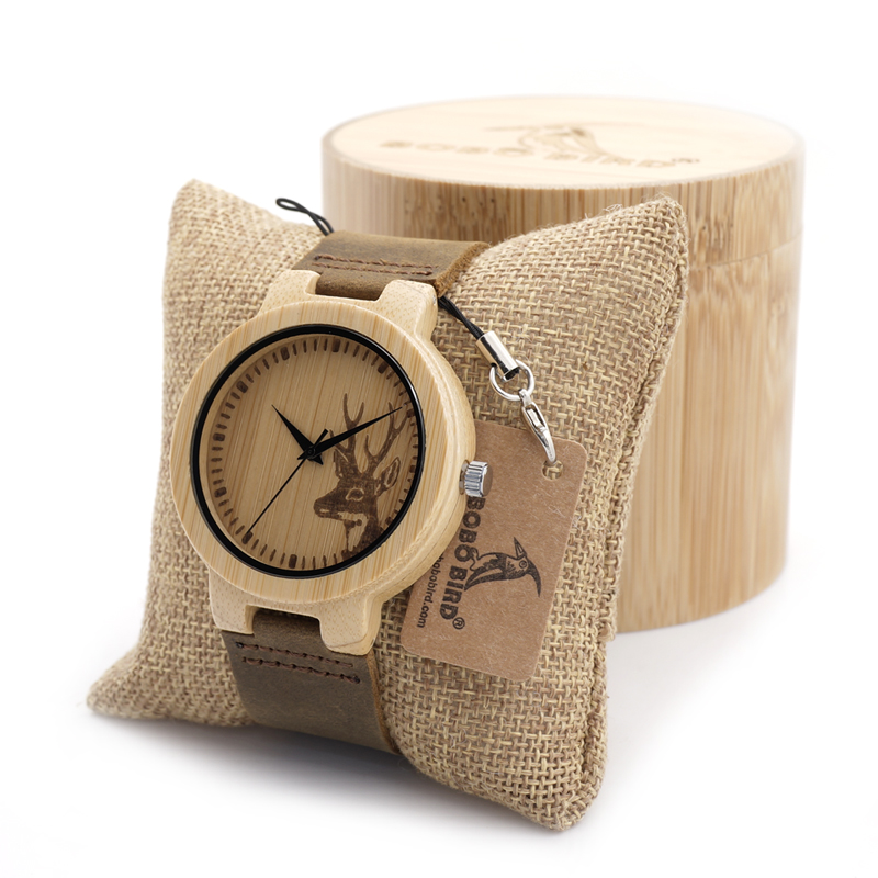 BOBO BIRD Bamboo Watch Gift Engraved Elk Head Natural Wooden Watches Genuine Leather Luxury Brand Wristwatch