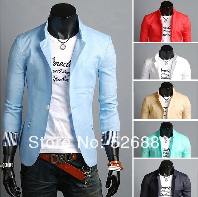 Envío gratis la nueva primavera ropa hombres cuerda de cáñamo es un grano de hebilla de color de la raya pequeño traje de cultivan de moralidad