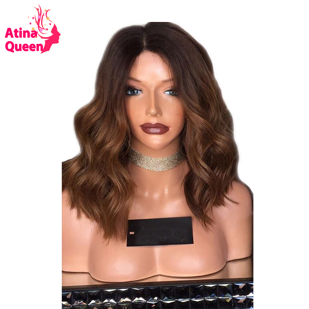 Atina Queen 1B 30 Ombre Human Hair lace Front Wigs With Baby Hair Body Wave Remy