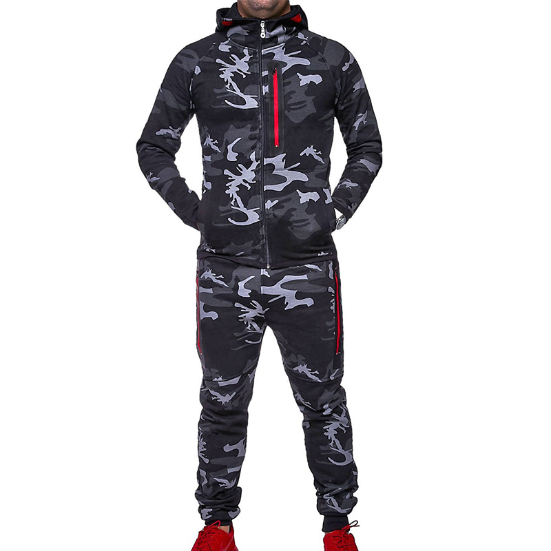 Zogaa Males Tracksuit Camouflage Tracksuit For Mens Slim Match Two Piece Units Sportswear Sweatsuit Army Male Sweat Swimsuit