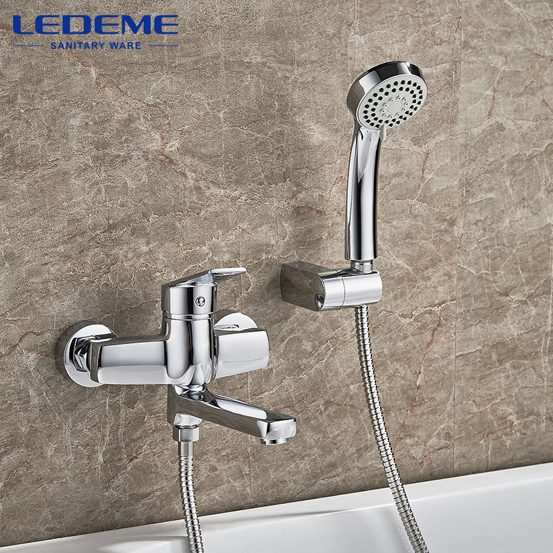 LEDEME Shower Faucet 1 set Round Bathroom Chrome Plated Shower Faucets Surface Brass inside Faucets Head Outlet Pipe Bath L3140 gappo classic chrome bathroom shower faucet bath faucet mixer tap with hand shower head set wall mounted g3260